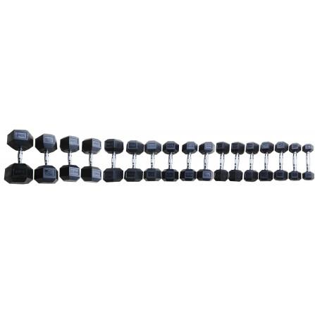 Manubri Esagonali gommati serie completa da 2.5 a 25 kg Toorx